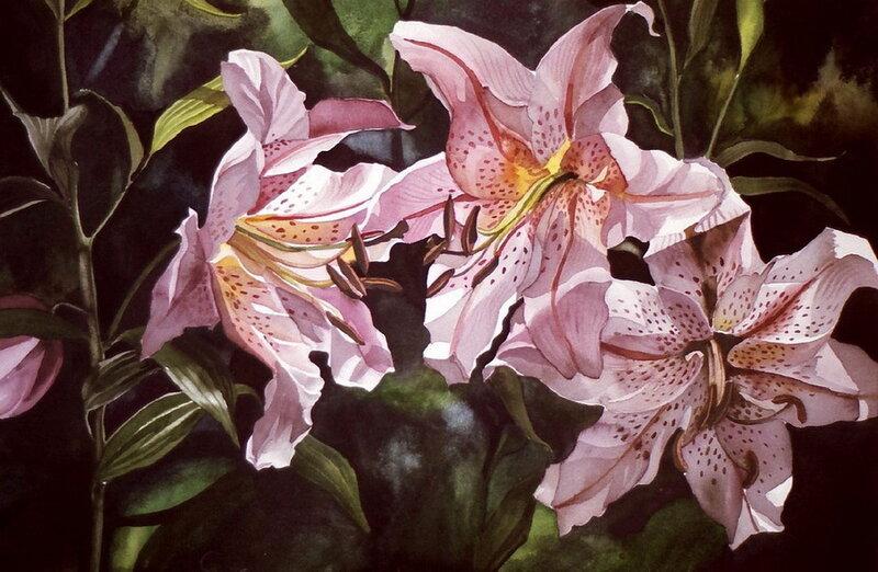 Цветы, выполненные в технике акварель Alfred Ng