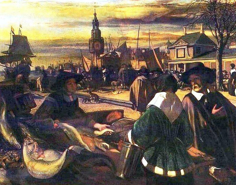 Картины старых мастеров, Эмануель де Витте, Рынок в порту