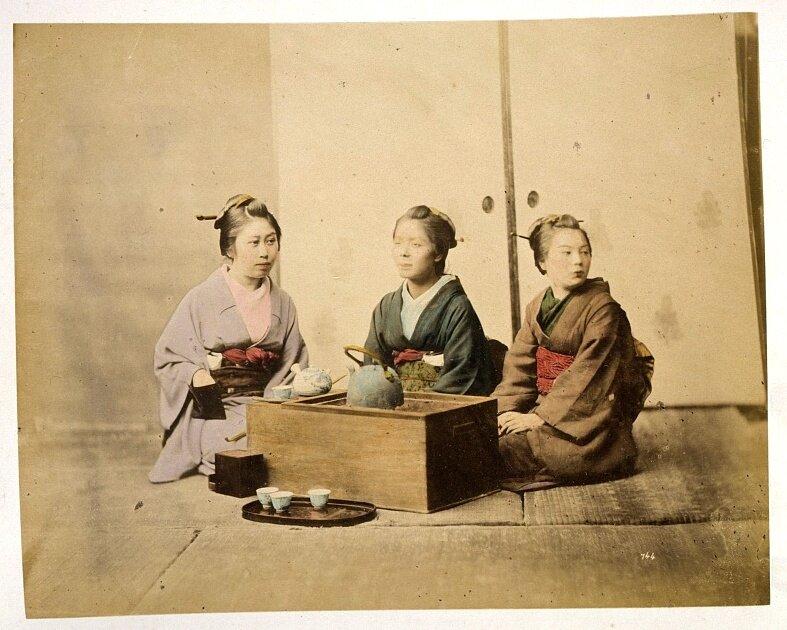 Three women having tea 1877.