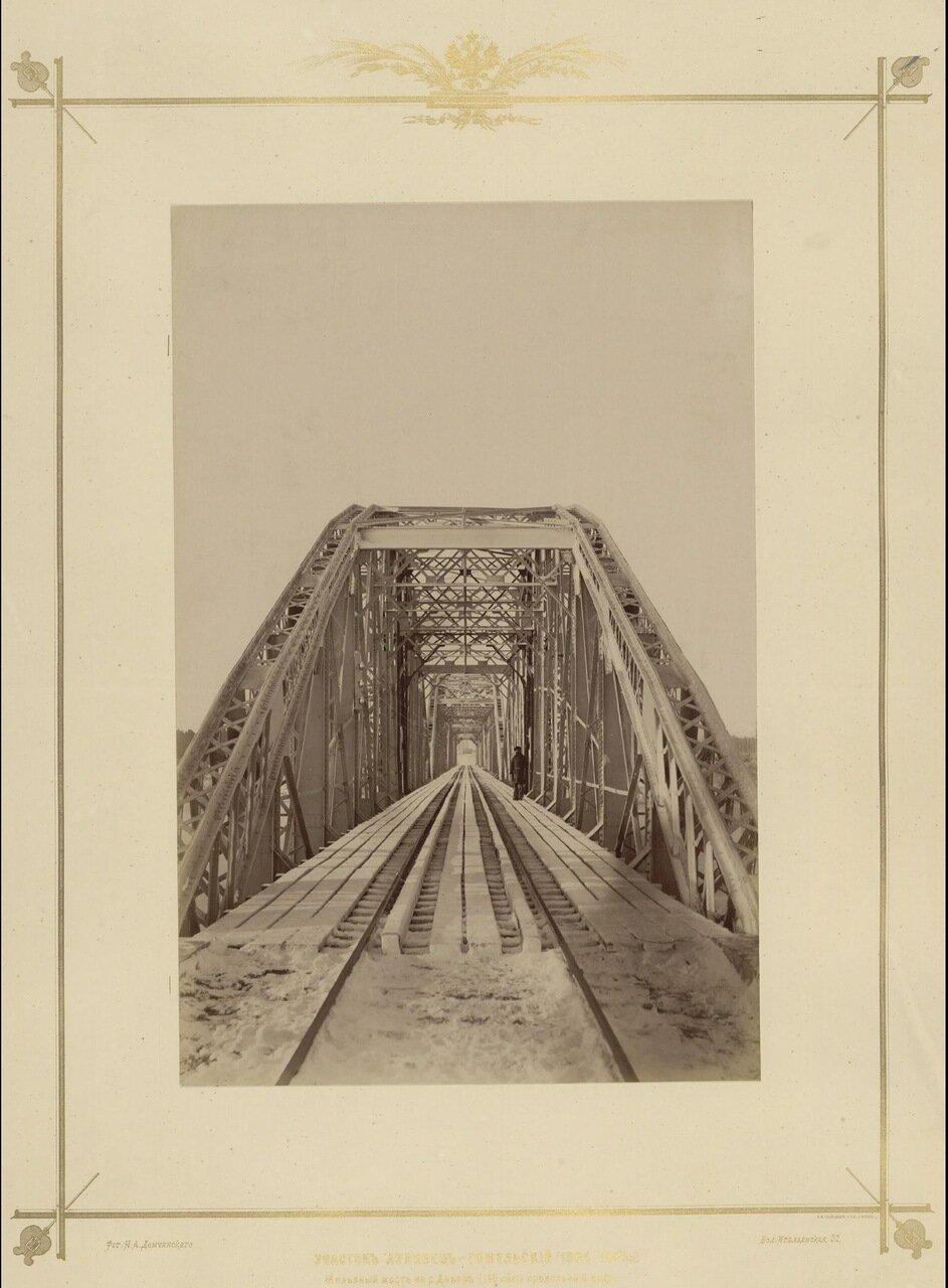 Участок Лунинец-Гомельский (1884 - 1886г.) Железный мост на р. Днепр. Продольный вид.1880-е