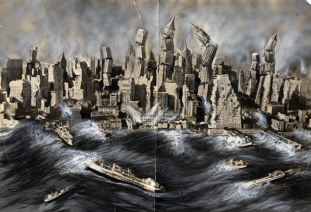 A staff artist's rendering of New York City being rocked by a cataclysmic earthquake