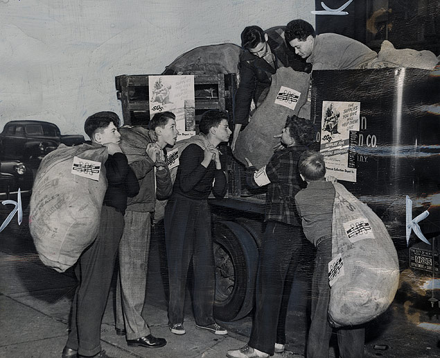 Members of the Brownsville Boys Club participate in Brooklyn SOS Week, a drive which collected more than 150,000 pounds of relief materials to aid European Jews
