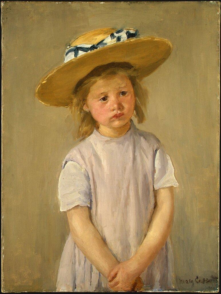 Ребёнок в соломенной шляпке ок. 1886,Mary Cassatt (1845–1926)
