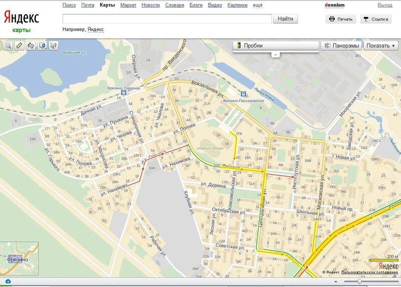 Яндекс показывает пробку на улице Горького во Фрязино