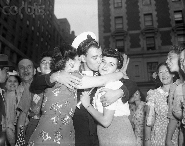 Sailor Kissing Girls on V-J Day