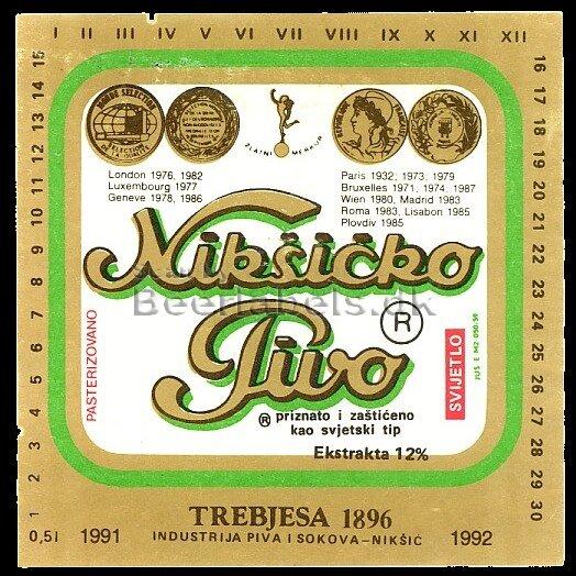 Черногорское пиво Никшичко, наклейка 91-92 года