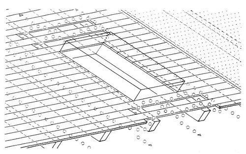 Нижний воздушный канал у проходного элемента; настил с вентиляционными проемами