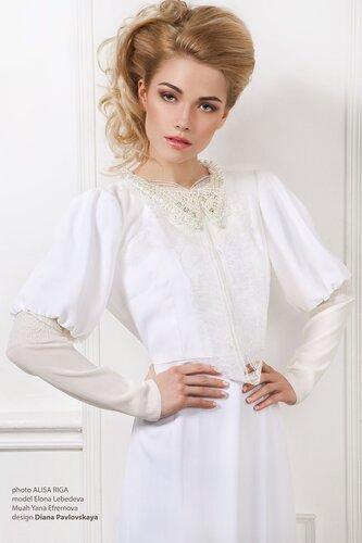 Белое платье в пол с рукавами,сайт www.fashion-piart.ru