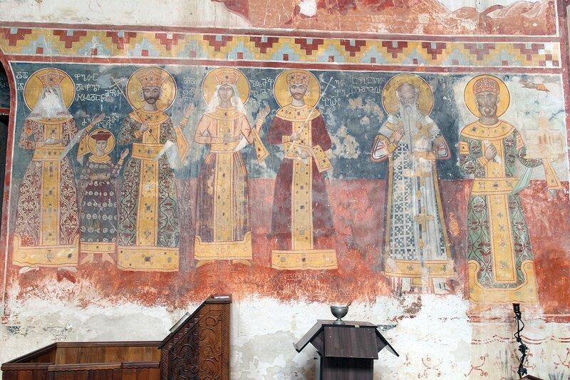 Грузинские святые цари. Фреска на северной стене собора в Гелати