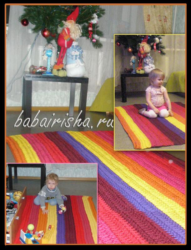 коврик цветной прямоугольный крючком из шнура