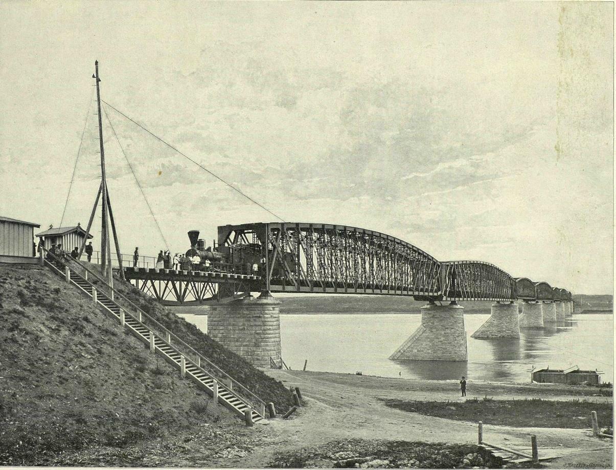 Железнодорожный мост. Вид с правого берега Оби, 1898 год