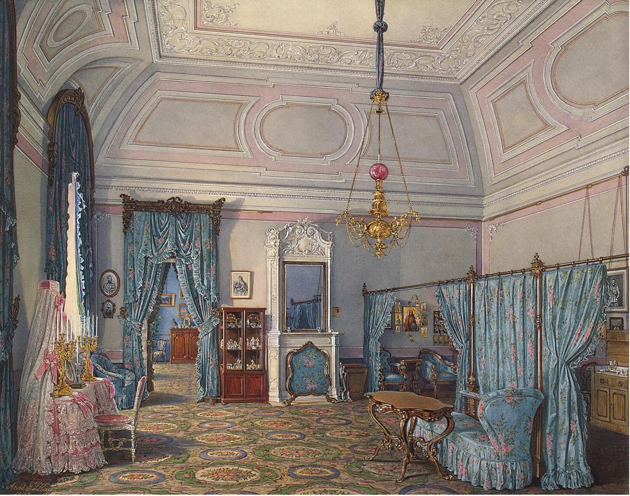 Интерьеры Зимнего дворца.Спальня великой княгини Марии Александровны
