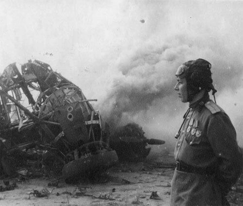 Senior Lieutenant KF Kiselev has shot down German transport plane Junkers Ju-52