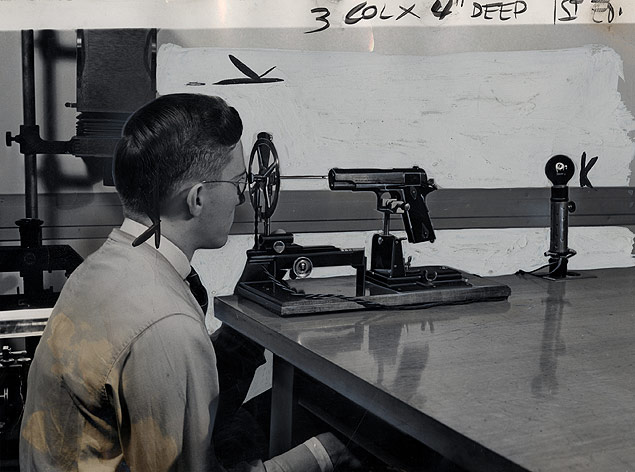 The Helixometer is used to examine the interior of a suspected weapon in the technical laboratories of the FBI.jpg