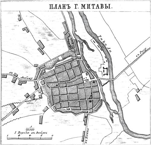 Генплан города Митавы на 1876 год