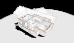 Брусовой жилой дом, классический пятистенок с дополнительными помещениями, на балконах вдоль фасадов