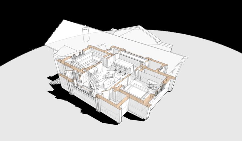 Проект коттеджа на одну семью, 56 кв.м. Перспективный вид плана жилого дома,бревенчатого пятистенка,  гостиная, две стальни, кухня, камин, ванная, туалет, кладовка.