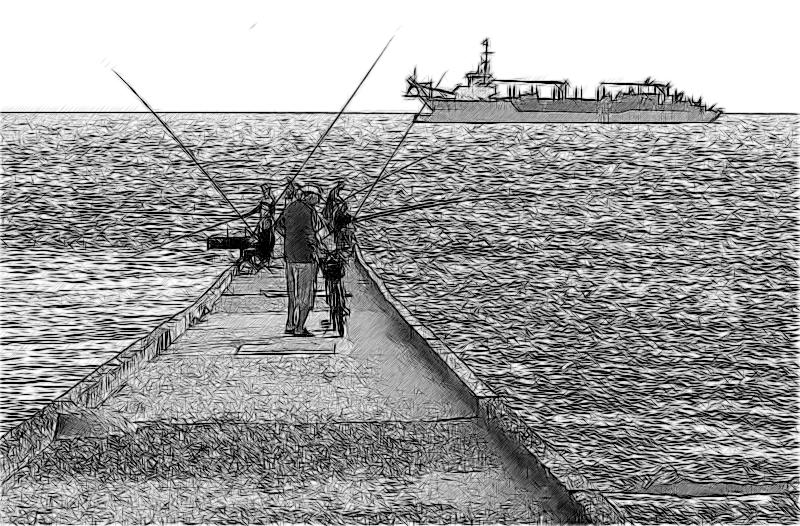 Рыбаки на буне