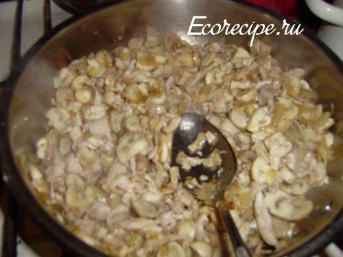 Начинка для блинов с грибами и курицей