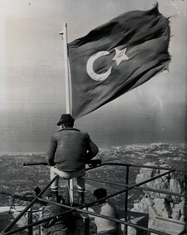Armed Turkish Cypriots maintain a view of the road through the Kyrenia Pass north of Nicosia, Cyprus 1964.