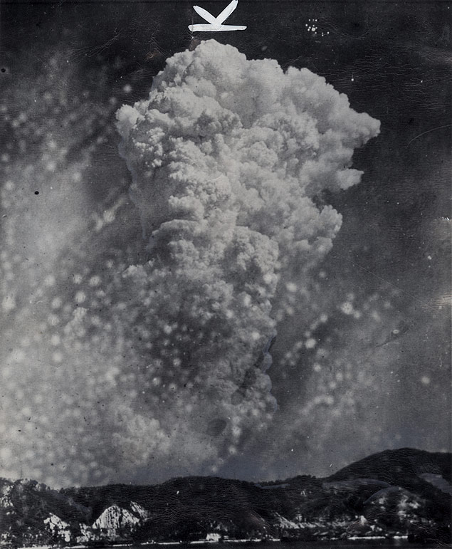 Made from the town of Yoshiura, Japan, on the other side of a mountain north of Hiroshima, a found photograph shows smoke rising from the explosion of the atomic bomb