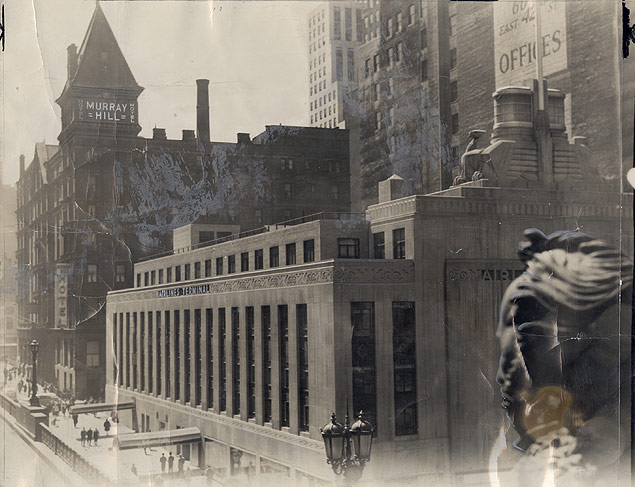 The new Airlines Terminal Building stands between the old Murray Hill Hotel and the statue of Commodore Cornelius Vanderbilt 1946