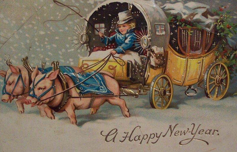 Старый новый год винтажная открытка
