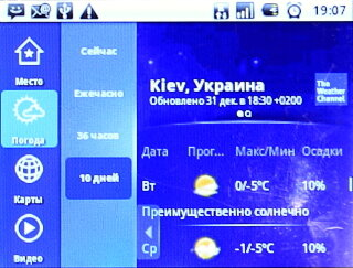 Прогноз погоды в Киеве на 1 января 2013 года в приложении The Weather Channel