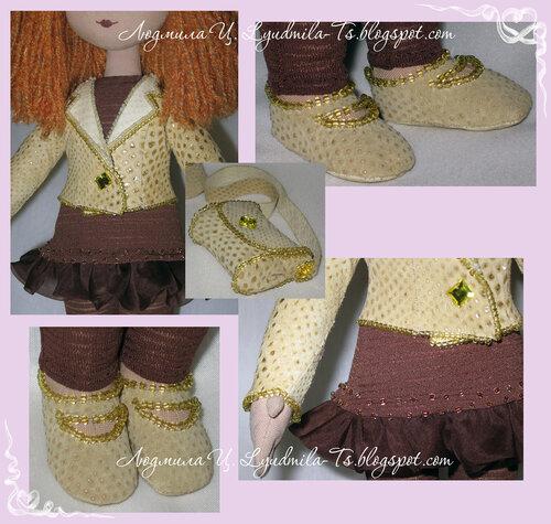 Текстильная кукла, кукла тряпичная, волосы из пряжи, кукла в кожаном, кожаная сумочка, одежда на куклу, кожаный жакет, кукольная обувь, рыжая кукла, кареглазая кукла, одежда обувь и сумочка обшитая бисером, сумочка для куклы, лосины для куклы, платье для куклы
