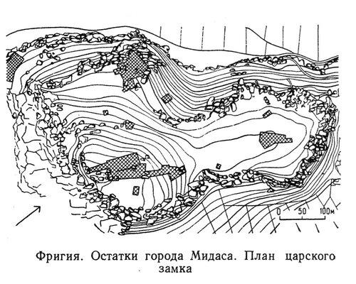 Город Мидаса, план остатков