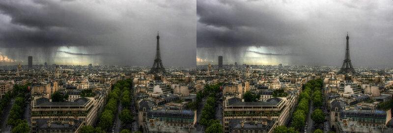 Париж Дождь Стереопара
