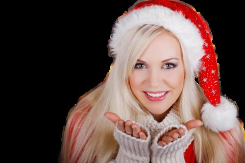 Blonde Frau als Christkind lächelt