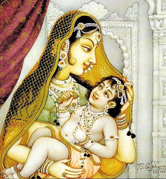 Картина индийского худ. ШАРМА - Царица Каушалья и ее сын РАМА
