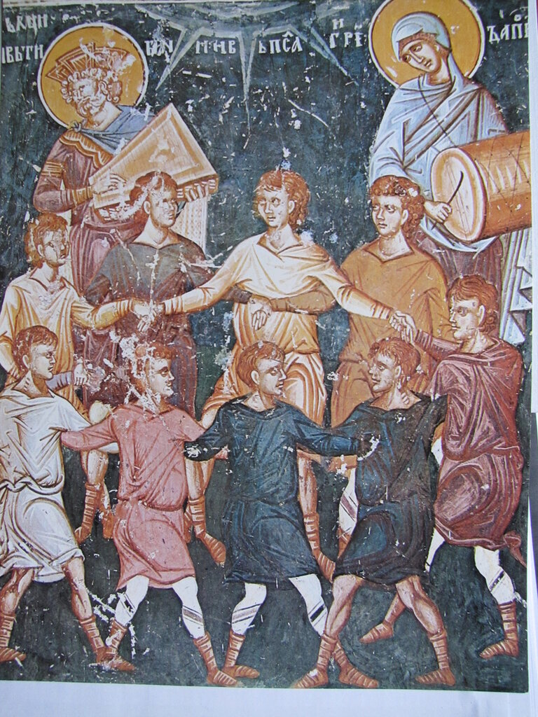 Фрагмент фрески Лесновского монастыря 14 век. Македония.