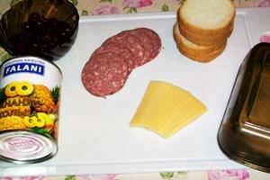 продукты для гавайского бутерброда