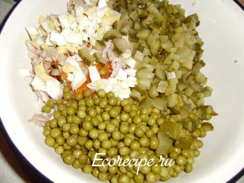 Нарезанные ингредиенты для салата Оливье