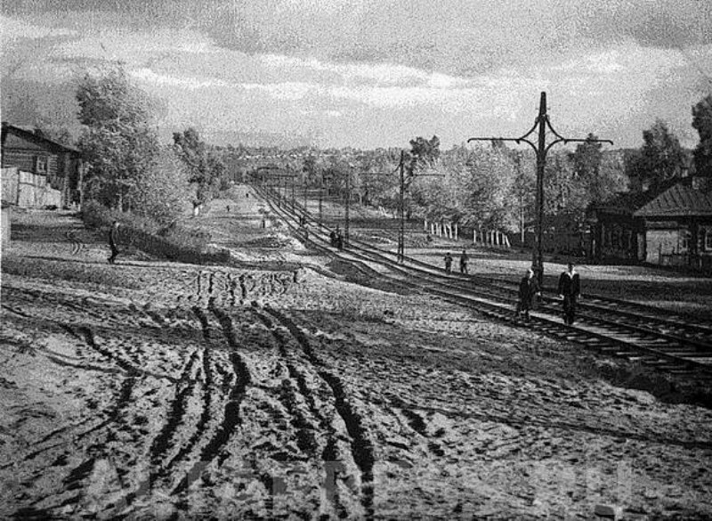 Пр. Красноармейский, строительство трамвайных путей. 1947г.