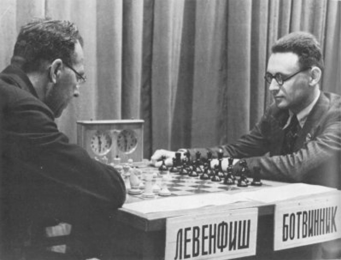 Chess match between Mikhail Botvinnik and Grigory Levenfish, 1937