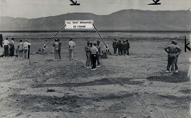 View of the Trinity Site on the morning after the first atomic bomb test