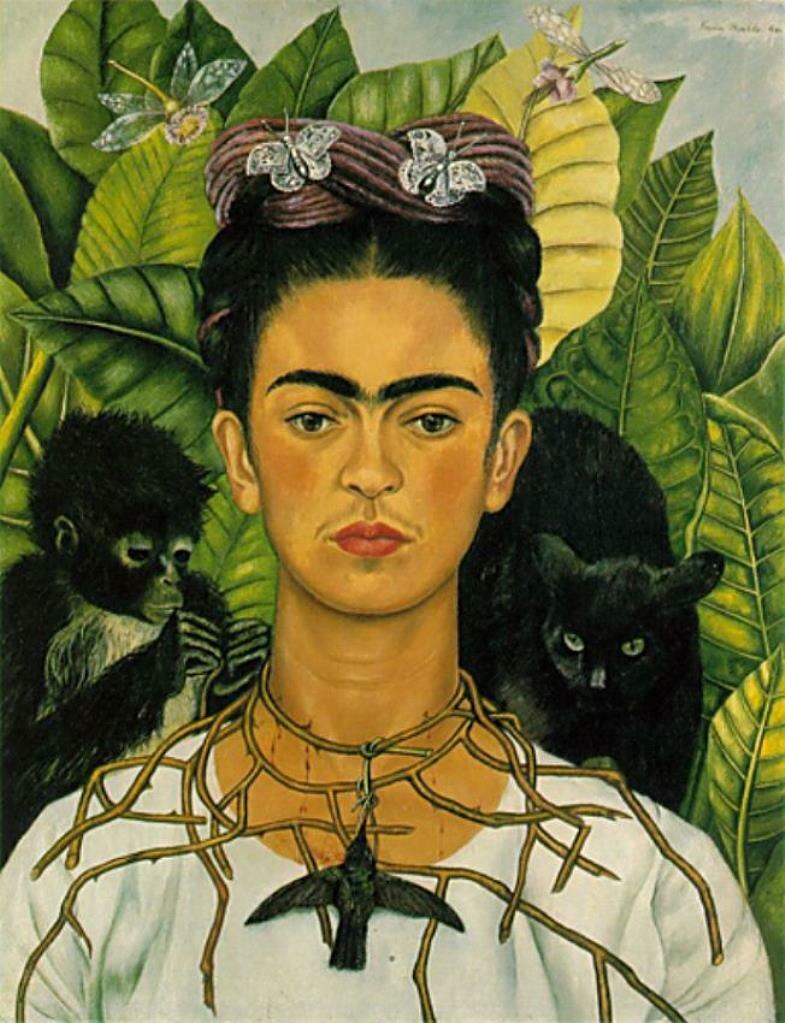 """Автопортрет с ожерельем из колючек и с пересмешником. """"Self-portrait with Thorn Necklace and Hummingbird"""" (1940) Кало Фрида,  (1907-1954);"""