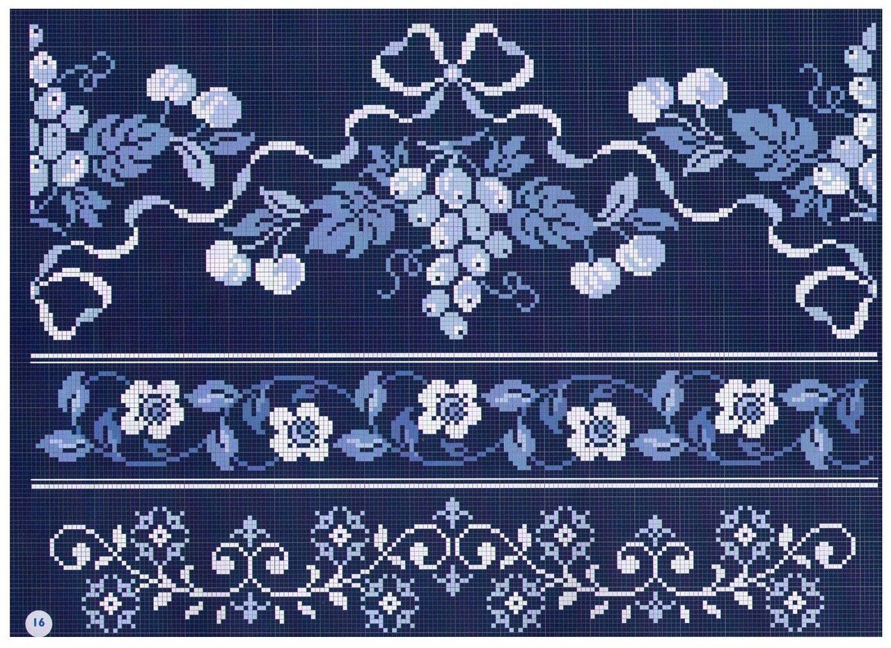 Схемы вышивок в голубых тонах