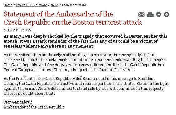 О Бостоне: Чехия испугались ложной атаки?