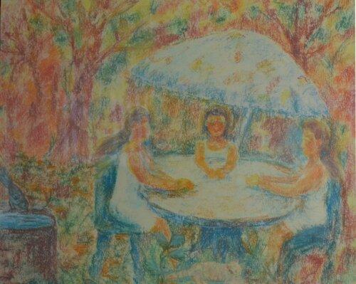 """Диплом 1 степени - Пенина Ксюша, 9лет """"Мы на даче. Жара"""". пастель, рук.Коряковская Т.В. ДШИ Новоасбест"""