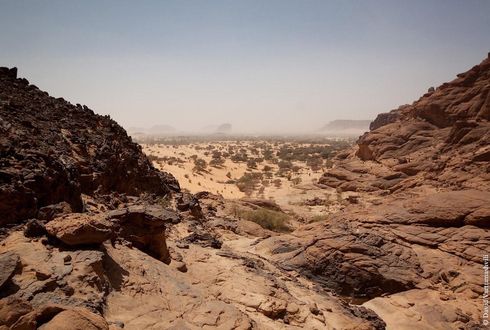 Пообедав и собрав лагерь, мы сели в машины и вскоре уже ехали по пустыне. Обогнув скалы, наша г