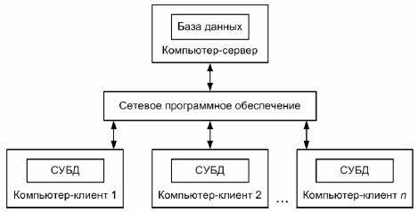 Рис. 1.1. Структура информационной системы с файл-сервером