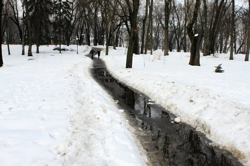 Затопленная дорожка в Мариинском парке