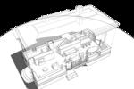 План первого этажа с расстановкой мебели, системы отопления, кухни, помещений гостиной, столовой, каминной, спальни гостей, уборной, шкафов для хранения домашней утвари, планировочная структура первого этажа организована без дополнительных перегородок. Проект жилого дома на одну семью, с площадью застройки по фундаменту 68 квадратных метров.