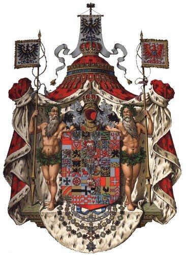 Большой герб Королевства Пруссия (изображение австрийского художника-геральдиста Герарда Гуго Штрёля)