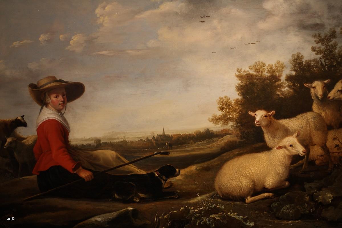 Якоб Герритс Кейп, Пастушка и овцы, Живопись, Начало XVII века, 68.6×90.7 см
