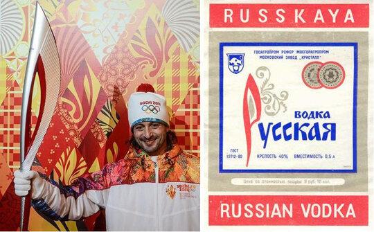 Схожесть факела для Олимпиады в Сочи и исконно русской этикетки
